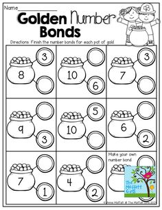 Fill in the missing part on the coins! Tons of fun and effective printables! Number Bonds Worksheets, Free Printable Math Worksheets, Kindergarten Math Worksheets, Teaching Math, Math Activities, Number Bonds To 10, Eureka Math, Singapore Math, Maila