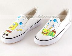 SpongeBob SquarePants White Hand Painted Canvas Sneakers Shoes,
