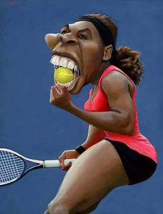Serena Williams by Lorenzo Muñoz Cartoon Faces, Funny Faces, Cartoon Art, Caricature Artist, Caricature Drawing, Funny Caricatures, Celebrity Caricatures, Serena Williams, Funny Toons
