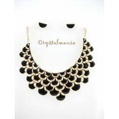 Set de collar y artes en tono negro estilo 3038