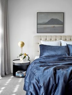 The bedroom in this luxurious homestead built on a horse racing stud is elegant yet relaxed. Deep navy bedding sings against a warm grey / cream colour palette. Contemporary Stairs, Contemporary Apartment, Contemporary Office, Contemporary Interior, Contemporary Building, Contemporary Cottage, Contemporary Chandelier, Contemporary Landscape, Contemporary Architecture