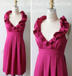 Bridesmaid Dress, magenta pink cotton, Made to Order