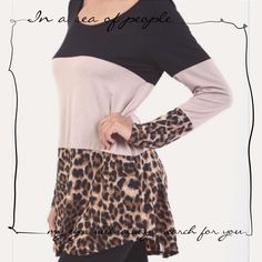 """HP 11/28COLOR BLOCK ANIMAL PRINT TOP! ....and of course, in animal print too! Color block top with cute animal print bottom. Lace trim down the middle of back. 95% rayon/5 % spandex. Made in USANWOT                                                             ♦️S: 38-36-43""""   ♦️M: 40-38-45""""                            ♦️L: 42-40-47""""   ♦️XL: 44-42-49""""                                       ♦️Length 30-33"""" front & 31-34"""" back                          DO NOT BUY THIS LISTING, I will personalize…"""