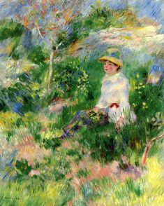 The Athenaeum - Summer: Young Woman in a Flowery Field (Pierre Auguste Renoir - )