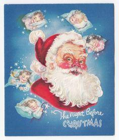 Vintage Greeting Card Christmas Santa Claus Die-Cut Sleeping Children