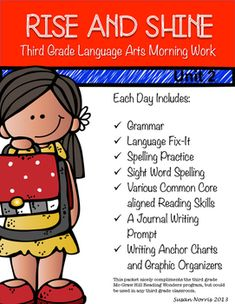 This language arts morning work follows the skills taught in the McGraw-Hill Reading Wonders third grade curriculum, but could be used in any third grade classroom. This pack includes morning work for Monday-Friday for 5 weeks of school. The skills are a spiral review of Unit 1 and Unit 2 of the Wonders curriculum, as well as a journal writing prompt for each day.Thank you!Please check out my other morning work units!Third Grade Language Arts Morning Work Unit 3