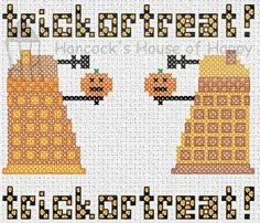 hancock's house of happy: TRICKORTREAT! These Daleks Demand Candy! Free Dr. Who Cross Stitch Chart