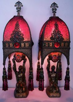 Pair Table or Mantle Lamps Egyptian Revival Deco Kneeling Ladies Hand Made Shades Antique Fabrics