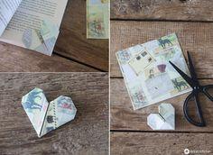 DIY Herzlesezeichen : Wir zeigen euch wie ihr ein kleines Herzlesezeichen falten könnt, als süße Aufmerksamkeit zum Bücher verschenken.