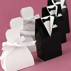 Bruid & bruidegom bedankjesdoosjes met wit lint (set van 12) - EUR € 1.49
