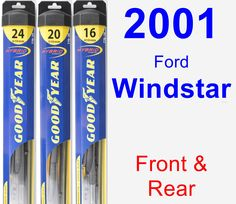 Front & Rear Wiper Blade Pack for 2001 Ford Windstar - Hybrid