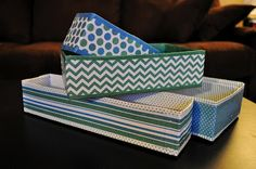 DIY bins to organize drawers - Save a bundle by making your own from upcycled cardboard boxes.