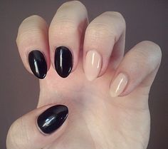 Natural almond black and nude hybrid nails