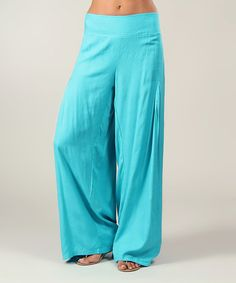 This Turquoise Pleated Palazzo Pants is perfect! #zulilyfinds