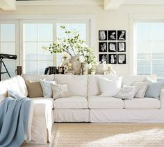 I love the relaxed beachy vibe of this room. Also, the view.