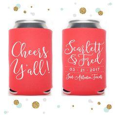 Cheers Y'all  Wedding Can Cooler 29  Custom Bridal