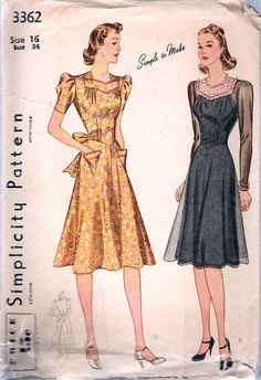 """Vintage 1940 Simplicity 3362 Daytime Dress Sewing Pattern Size 16 Bust 34"""" by Recycledelic1 on Etsy"""