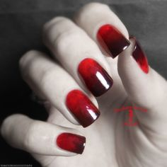 Beautifully blended red and black nails