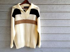 vintage 1970s sweater in cream with tan & black stripe. retro menswear fashion. | ReRunRoom | $30.00