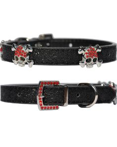Black candy finish dog collar with chrome buccaneer style skull and bone studs sparkling with faux rubys Candy Skulls, Skull And Bones, Collars, Studs, Couture, Accessories, Black, Sugar Skulls, Necklaces