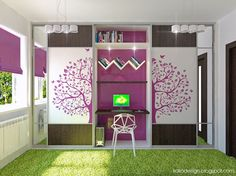 Gorgeous Purple and White Girls Bedroom with Tree Decal Wardrobe and Grass Synthetic Rug by Irako Design Green Girls Rooms, Purple Rooms, Little Girl Rooms, Cute Bedroom Ideas, Awesome Bedrooms, Cool Rooms, Bedroom Inspiration, Color Inspiration, Woman Bedroom