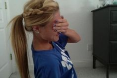 boho braid+ponytail, so cute for long hair hair-beauty My Hairstyle, Pretty Hairstyles, Ponytail Hairstyles, Softball Hairstyles, Hair Ponytail, Braid Hair, Updos, Curly Hair, Wedding Hairstyles