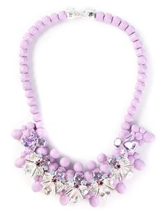 Lavender silicone 'Lavendula' necklace from Ek Thongprasert featuring a rear silver-tone clasp closure and multicoloured cubic zirconia crystal embellishing.