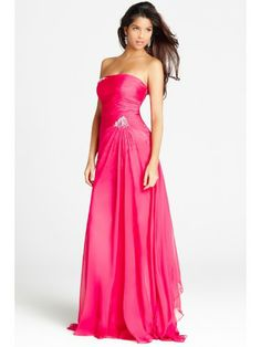 Chiffon Strapless Gathered Bodice Floor-length Prom Dress