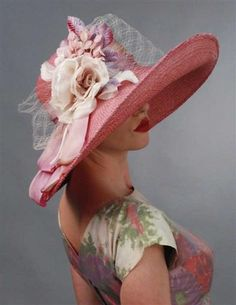 I would love this louise green blushed rose hat for Rose Hat, Tea Party Hats, Maxi Robes, Romantic Outfit, Fancy Hats, Kentucky Derby Hats, Wearing A Hat, Red Hats, Hats For Women