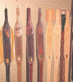 Singletree custom made leather rifle slings, hand tooled, and personalized. Leather Art, Custom Leather, Leather Tooling, Leather Rifle Sling, Leather Guitar Straps, Leather Working Patterns, Leather Pattern, Leather Projects, Kydex