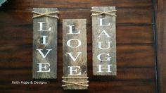 Live Laugh Love 3pc reclaimed wood set // inspirational // gift // home decor // rustic // country // homemade // Wooden Wall Art // Pallet