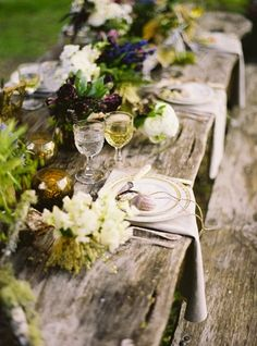 Wedding Ideas: reclaimed-wood-banquet-table-flowers