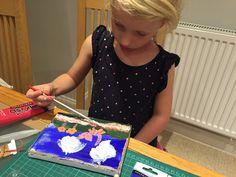 Liliana's first acrylic canvas
