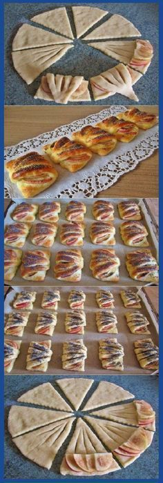Love the idea of making a simple snack look elegant. Pastry Recipes, Dessert Recipes, Cooking Recipes, Easy Snacks, Easy Meals, Tapas, Pastry Design, Bread Shaping, Creative Food