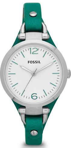 Fossil Watches, Women's Georgia Three Hand Leather Watch - Teal #ES3316