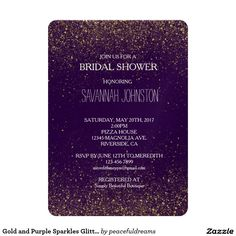 Gold and Purple Sparkles Glitter bridal shower 5x7 Paper Invitation Card