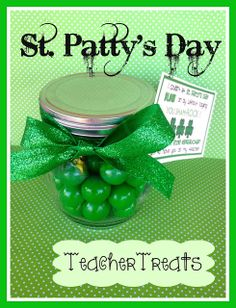 Even though our kids are usually on Spring Break over St. I still like to have them bring in a little GREEN treat . Teacher Treats, Teacher Gifts, Happy St Patricks Day, Saint Patricks, Day And Mood, Visa Gift Card, Luck Of The Irish, Throw A Party, School Gifts