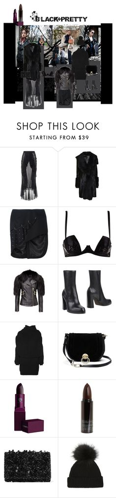"""Black+Pretty"" by rodeline-p ❤ liked on Polyvore featuring Rodarte, Plein Sud, Anthony Vaccarello, Ann Demeulemeester, Acne Studios, Diane Von Furstenberg, Lipstick Queen, Serge Lutens and Oscar de la Renta"