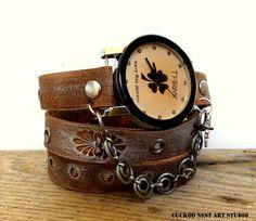 Four leaf clover watch Boho leather watch by CuckooNestArtStudio