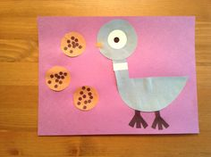 Pigeon craft from The Duckling Gets a Cookie!? by Mo Willems - Preschool Craft - Book Craft - Letter of the Week Craft - Kids Craft