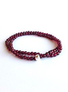 Genuine Garnet Bracelet, Small Bead Gemstone Jewelry, Stretch Double Wrap Bracelet