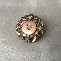 Wedding & Engagement Jewelry Friendly Broche Ancienne Plaque Or Signé Ab