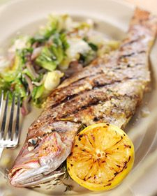 Grilled Whole Snapper with Escarole and Preserved Lemons - Martha Stewart Recipes