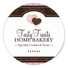 Shop Bakery Packaging Stickers created by colourfuldesigns. Dessert Logo, Home Bakery Business, Gift Wrapping Techniques, Cake Icon, Address Label Stickers, Cake Logo Design, Dessert Boxes, Packaging Stickers, Bakery Packaging