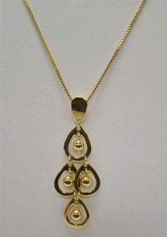 """GOLD OVER 925 STERLING SILVER NECKLACE PENDANT W/ 18"""" BOX CHAIN PEAR SHAPE 4.7g #Pendant"""