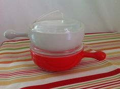 Vintage Glasbake Cherry Red and Light Gray Chili Bowls With Atomic Style Clear Glass Lids by LakesideVintageShop on Etsy
