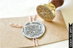 Etsy の B20 Wax Seal Stamp Message Words Thank You by Backtozero
