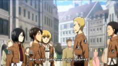 """SOMETHING IS WRONG!!!WHY IS HANNES AND THE OTHER GUY WEARING THE WINGS OF FREEDOM?!? I also realized Mikasa is making a weird face that looks like she is smiling... Armin though:""""Hey.What's up?You enjoying the feels we make you feel?"""