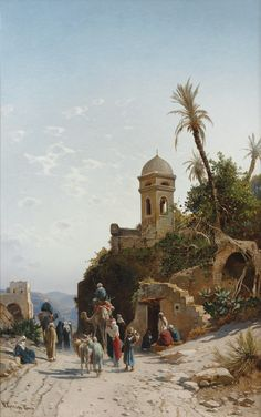 """On the Road to Jerusalem"" Painting by Hermann Corrodi, Italian, 1844 - 1905 Goldscheider, Art Du Monde, Art Occidental, Arabian Art, Islamic Paintings, Art Asiatique, Old Egypt, Mary Cassatt, Realistic Paintings"