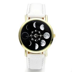 Amazon.com: Top Plaza Unisex Women's Fashion Chic Moonphase Dress Watch, Gold Tone - White: Watches